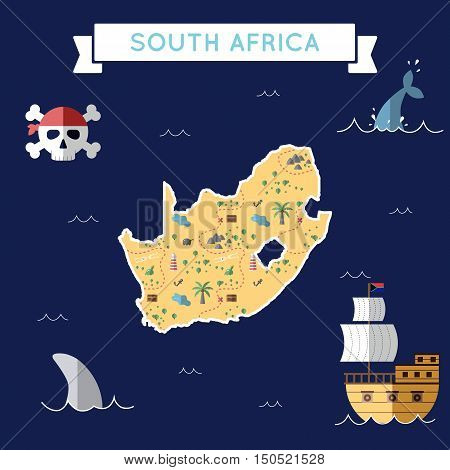 Flat Treasure Map Of South Africa. Colorful Cartoon With Icons Of Ship, Jolly Roger, Treasure Chest