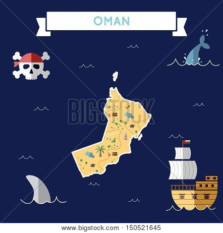 Flat Treasure Map Of Oman. Colorful Cartoon With Icons Of Ship, Jolly Roger, Treasure Chest And Bann
