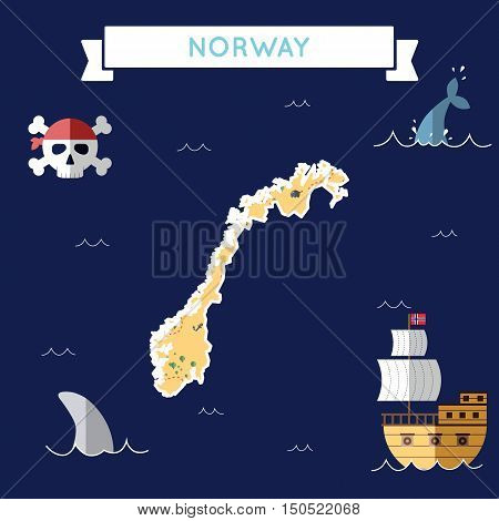 Flat Treasure Map Of Norway. Colorful Cartoon With Icons Of Ship, Jolly Roger, Treasure Chest And Ba