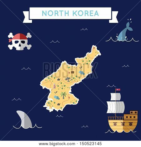 Flat Treasure Map Of Korea, Democratic People's Republic Of. Colorful Cartoon With Icons Of Ship, Jo