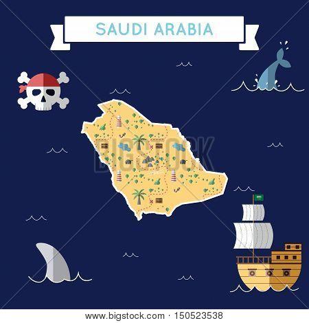 Flat Treasure Map Of Saudi Arabia. Colorful Cartoon With Icons Of Ship, Jolly Roger, Treasure Chest