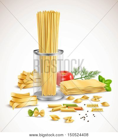 Dry pasta assortment With basil leaves tomato dill and black pepper ingredients realistic composition poster vector illustration