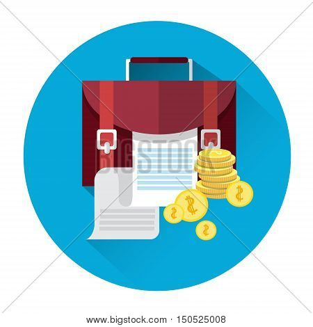 Case With Document Coins Icon Business Investment Concept Flat Vector Illustration