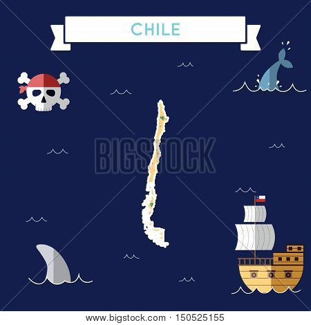 Flat Treasure Map Of Chile. Colorful Cartoon With Icons Of Ship, Jolly Roger, Treasure Chest And Ban