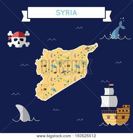 Flat Treasure Map Of Syrian Arab Republic. Colorful Cartoon With Icons Of Ship, Jolly Roger, Treasur