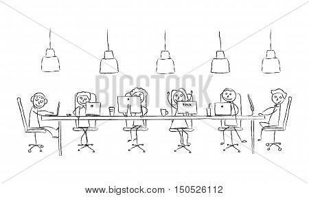 Vector sketch illustration coworking center concept. Black and white interior line. Working place with simple happy cartoon people. Modern workspace. Long table with coffee and laptop and computer.