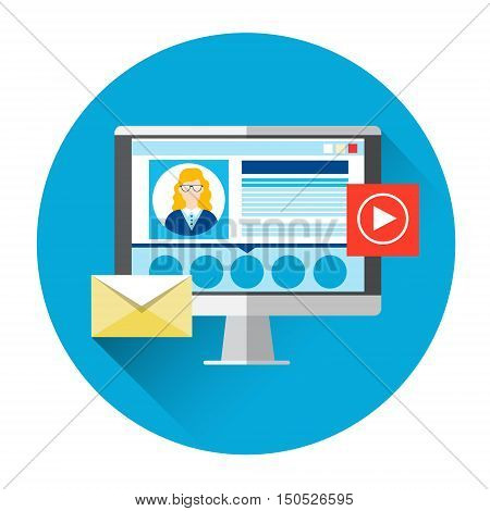 Computer Monitor Social Network Icon Video Blogger Flat Vector Illustration