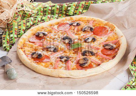 italian pizza ham mushrooms pepperoni still life