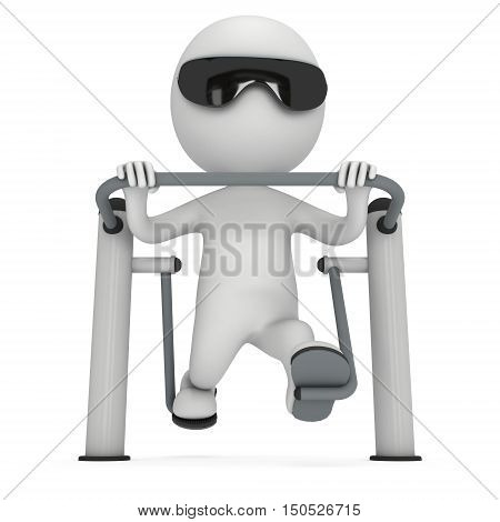 Active 3D Man Exercising On Outdoor Fitnes Trainer Machine