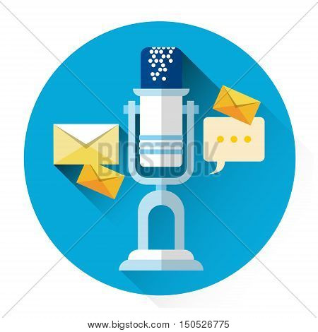 Microphone With Envelope Web Mail Icon Flat Vector Illustration
