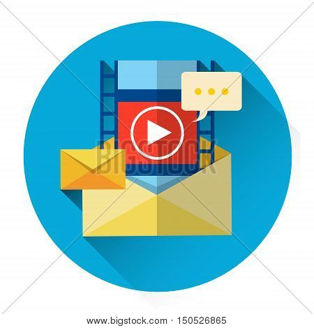 Video Record Online Play Icon Player Envelope Streaming Interface Flat Vector Illustration