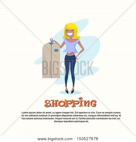Shopping Happy Smiling Woman with Clothes Case Walking Flat Vector Illustration