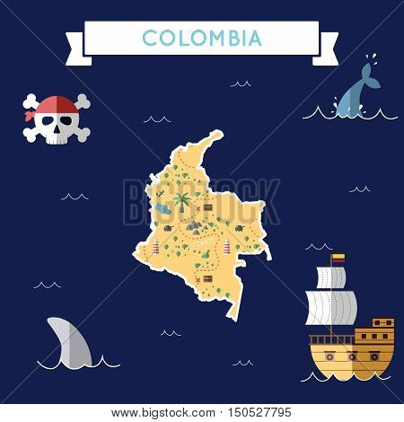 Flat Treasure Map Of Colombia. Colorful Cartoon With Icons Of Ship, Jolly Roger, Treasure Chest And