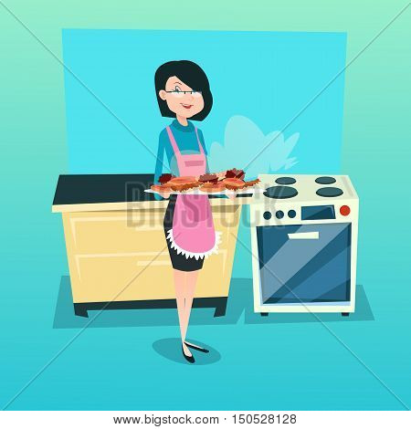 Woman In Kitchen Holding Tray With Cakes Biscuits Flat Vector Illustration