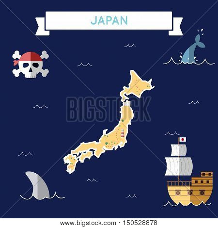 Flat Treasure Map Of Japan. Colorful Cartoon With Icons Of Ship, Jolly Roger, Treasure Chest And Ban