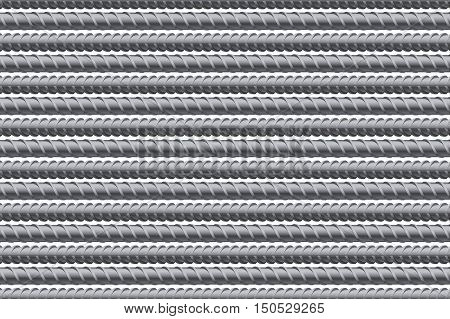 Rebars pattern background. Reinforcement steel for building. Vector illustration Isolated on white background.