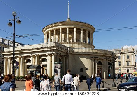 ST. PETERSBURG, RUSSIA - AUGUST 8, 2016: People at the ground pavilion of metro station Ploshchad Vosstaniya on Nevsky avenue. The station was opened  on November 15, 1955