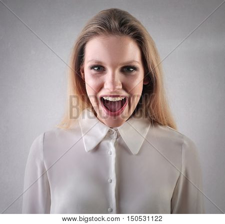 Excited woman's portrait