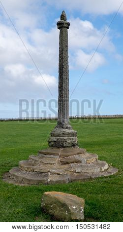 Old column and plinth in Whitby Yorkshire UK