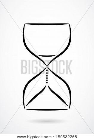 Sandglass contour drawing. Vector design for any decoration. Creative concept.