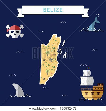 Flat Treasure Map Of Belize. Colorful Cartoon With Icons Of Ship, Jolly Roger, Treasure Chest And Ba
