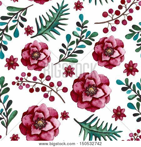Seamless Floral Pattern with Watercolor Bright Green Leaves Red Flowers and Burgundy Flowers