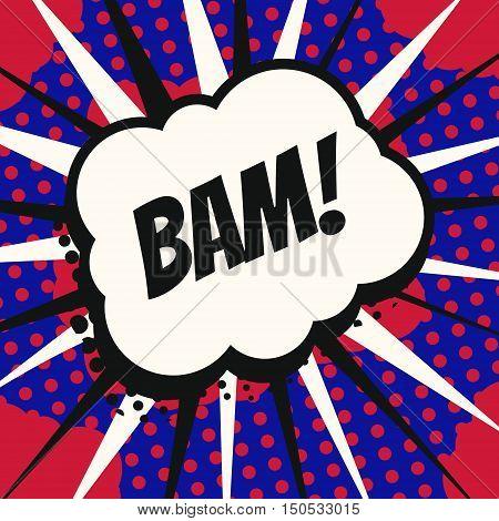 Vintage pop art cartoon comics speech bubble (Bam!) in vector.