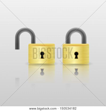 orange metal locked and unlocked padlock icon