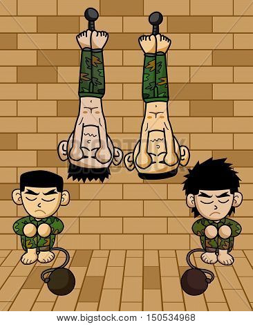 art prisoner army hanging on wall cartoon illustration