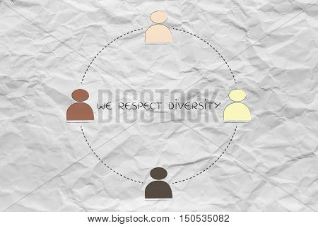 Diversity In The Workplace: Multi Ethnic Team Illustration (circle Version)