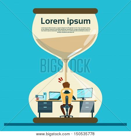 Business Man Work Hard At Computer Over Big Sand Watch Deadline Concept Flat Vector Illustration