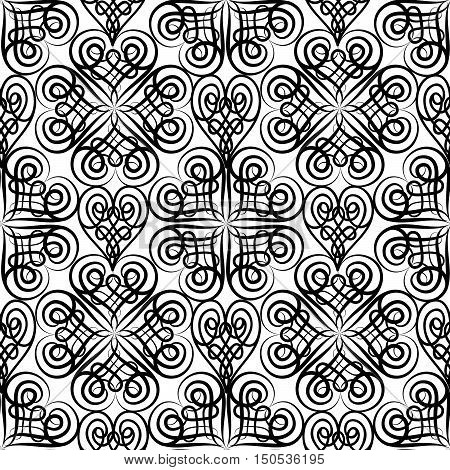 Abstract floral seamless pattern with black and white line ornament Swirl geometric doodle texture. Ornamental arabesque lace pattern. Oriental vignette background.