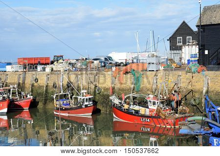 Whitstable United Kingdom -October 1 2016: Fishing Boats in Whitstable Harbour