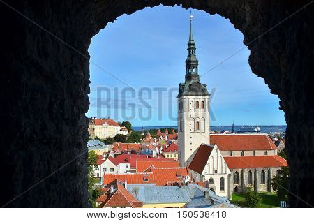 View of the spire of St. Nicholas Church (Niguliste kirik) in old town.Tallinn Estonia.