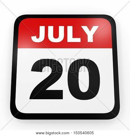 July 20. Calendar On White Background.