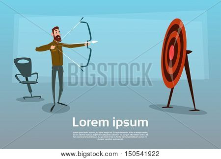 Business Man Aim Archer To Target Get Goal Concept Arrow Flat Vector Illustration