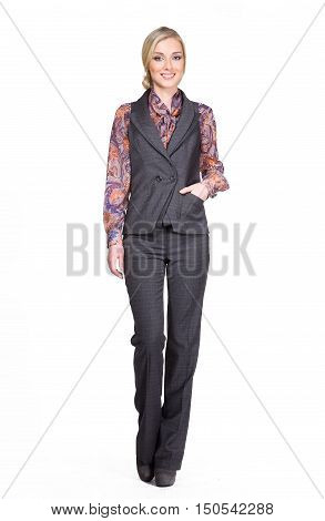 blond european business executive woman with straight hair style in official gray vest trousers suit high heels shoes stand full body length isolated on white