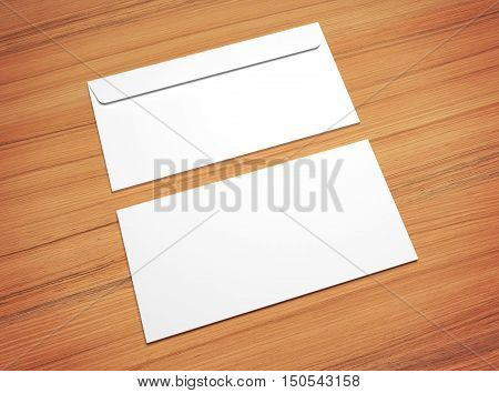 White 3d illustration postal envelopes for design presentation. Mock-up on wooden texture.