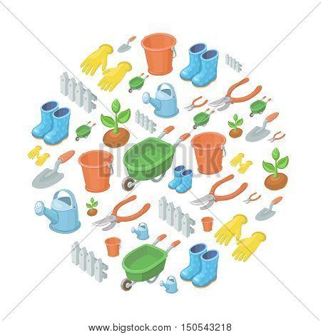 Vector garden tools background equipment and farming gardening concept.