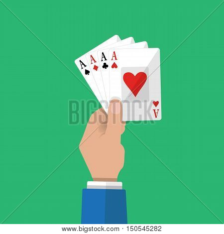Four aces of poker in hand. Gambling entertainment. card game. vector illustration in flat style on green background