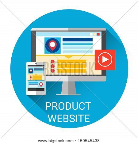 Website Production Icon Programming Creative Process Concept Flat Vector Illustration