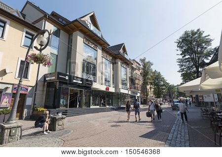 ZAKOPANE POLAND - SEPTEMBER 12 2016: Commercial premises located in modern shopping mall that is located along the main pedestrian street in the city named Krupowki