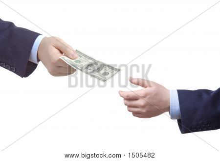 Person Handing Over Money To Another Person