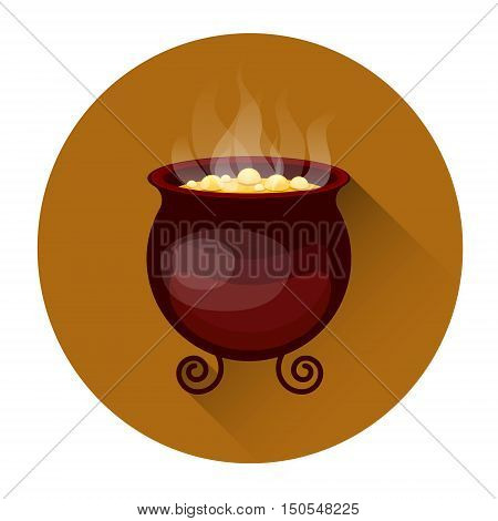 Cauldron With Boiling Potion Halloween Holiday Icon Flat Vector Illustration
