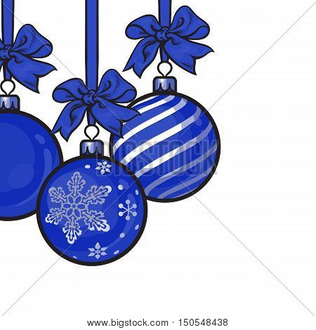 Blue Christmas balls with blue ribbon and bows, sketch style vector template for greeting card. Frame or border of hanging blue Christmas decoration balls - solid, striped and with snowflake ornament