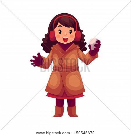 Happy little girl in winter clothes with a snowball, cartoon style vector illustration isolated on white background. Little caucasian girl in warm winter clothes