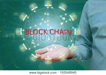 Blockchain network against double exposure concept. businessman show on hand Block chain text and distributed connection with abstract background