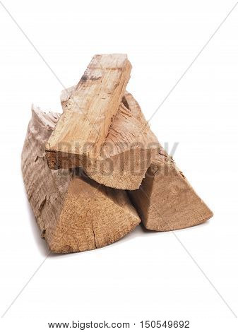 Pile of beech fire wood on a white background