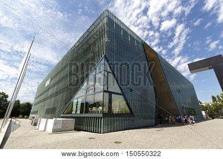 WARSAW POLAND - AUGUST 05 2016: Museum of the History of Polish Jews which is often called The Polin was designed by Finnish architect Rainer Mahlamaki and was built in years 2009-2013