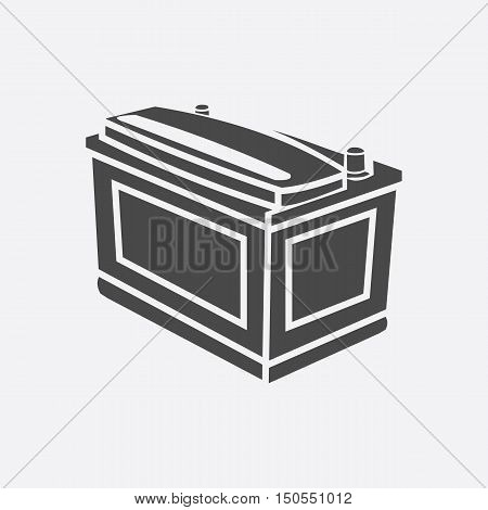 Car battery icon style. Single silhouette auto parts icon from the big car black - stock rastr